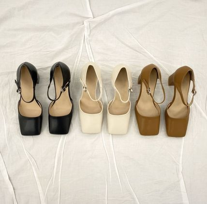 Square Toe Faux Fur Plain Block Heels Party Style