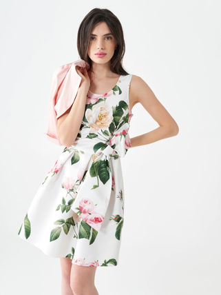 Short Flower Patterns Casual Style A-line Sleeveless Flared