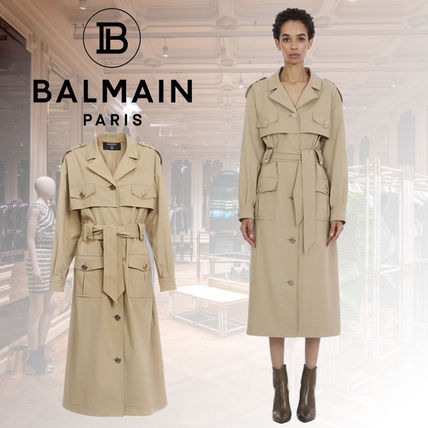 BALMAIN Beige Trench With Gold-Tone Buttons