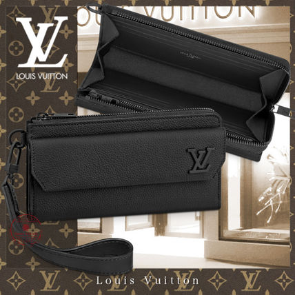 Louis Vuitton ZIPPY WALLET Blended Fabrics Street Style Leather Long Wallet  Logo