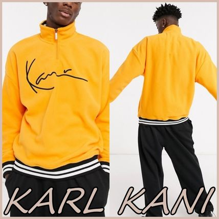 KARL KANI Sweatshirts Pullovers Street Style Bi-color Long Sleeves Logo