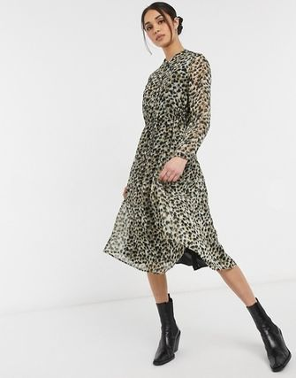 Leopard Patterns Casual Style A-line Chiffon Long Sleeves