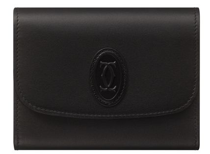 Cartier Folding Wallet Logo Unisex Calfskin Bi-color Plain Leather