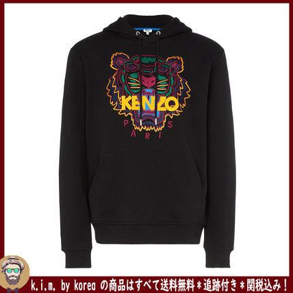 KENZO Hoodies Long Sleeves Plain Cotton Logo Designers Hoodies