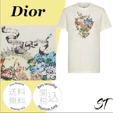 Christian Dior More T-Shirts Flower Patterns Unisex Linen Blended Fabrics Street Style