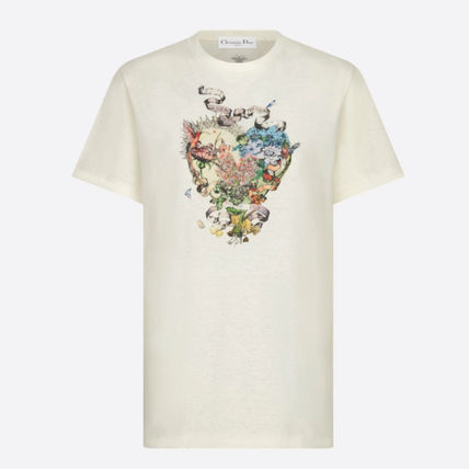Christian Dior More T-Shirts Flower Patterns Unisex Linen Blended Fabrics Street Style 3