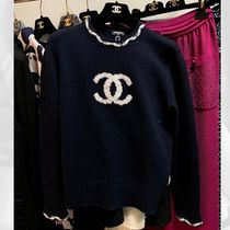CHANEL ICON Crew Neck Casual Style Cashmere Long Sleeves Plain Medium
