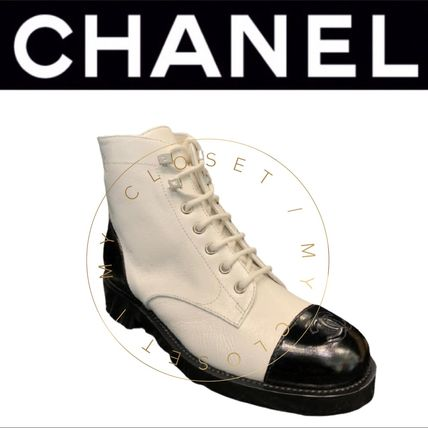 CHANEL ICON Plain Toe Mountain Boots Casual Style Blended Fabrics