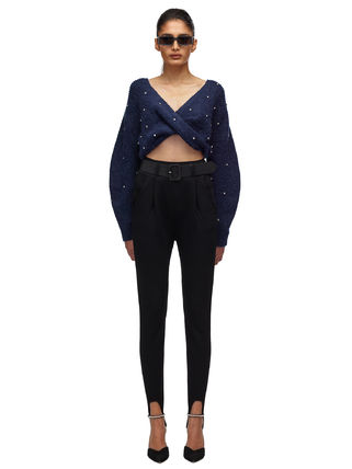 Short Casual Style V-Neck Long Sleeves With Jewels Cropped