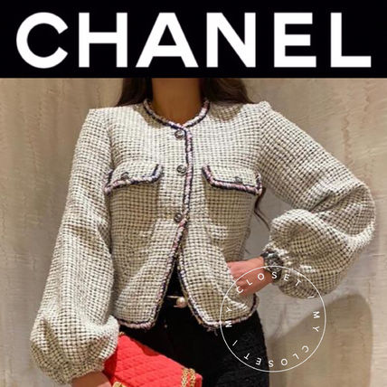 CHANEL ICON Formal Style  Logo Front Button Casual Style Tweed Plain