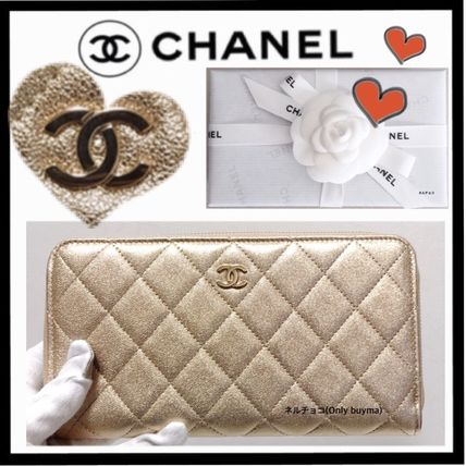 CHANEL MATELASSE Unisex Lambskin Plain Long Wallet  Long Wallets
