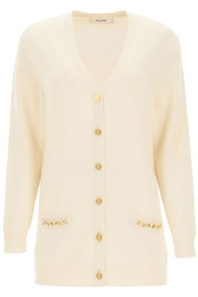 CELINE Casual Style Cashmere Rib Street Style Long Sleeves Plain
