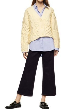 ZARA Cable Knit Casual Style V-Neck Long Sleeves Elegant Style