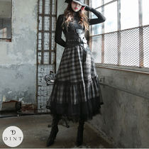 Flared Skirts Other Plaid Patterns Casual Style Long Lace