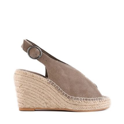 Open Toe Platform Casual Style Suede Plain Party Style
