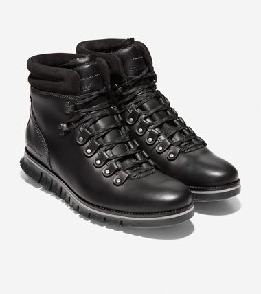 Cole Haan ZEROGRAND Mountain Boots Blended Fabrics Plain Leather Outdoor Boots