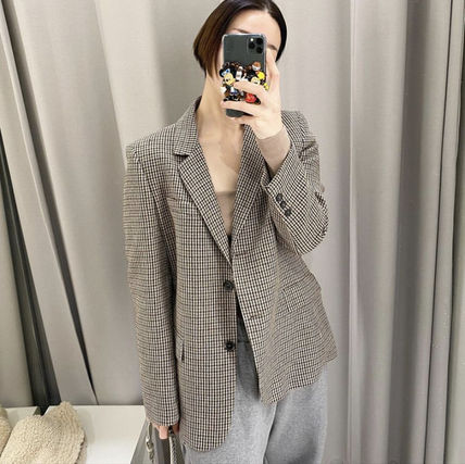 ZARA Glen Patterns Other Plaid Patterns Casual Style Wool