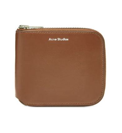 Unisex Plain Leather Folding Wallet Long Wallet  Logo