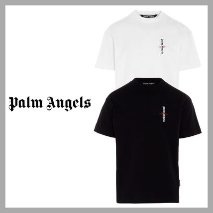 Palm Angels Unisex Street Style Plain Cotton Logo T-Shirts