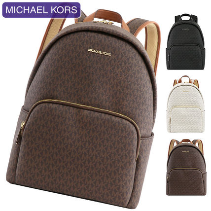 Michael Kors A4 Leather Office Style Logo Backpacks