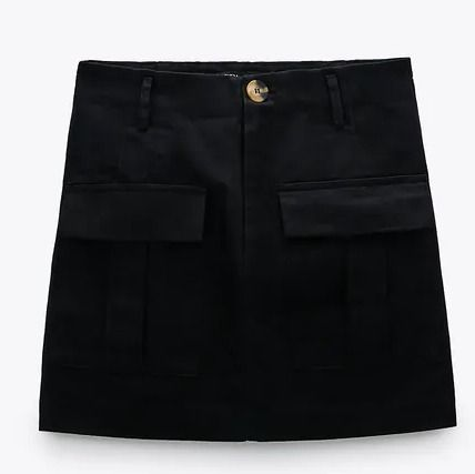ZARA Pencil Skirts Short Plain Cotton Mini Skirts