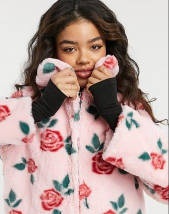 Short Flower Patterns Casual Style Faux Fur Street Style