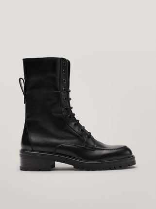 Massimo Dutti Round Toe Lace-up Casual Style Plain Leather Lace-up Boots