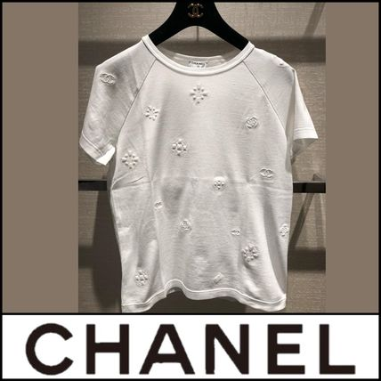 CHANEL Crew Neck Flower Patterns Street Style Short Sleeves Logo