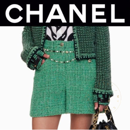 CHANEL ICON Short Casual Style Tweed Blended Fabrics Street Style Plain
