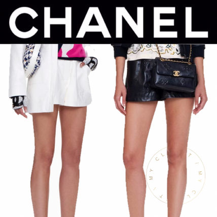 CHANEL ICON Short Casual Style Blended Fabrics Street Style Plain