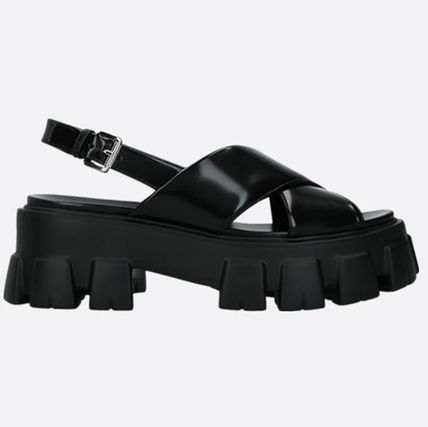 PRADA Open Toe Platform Casual Style Plain Leather Party Style