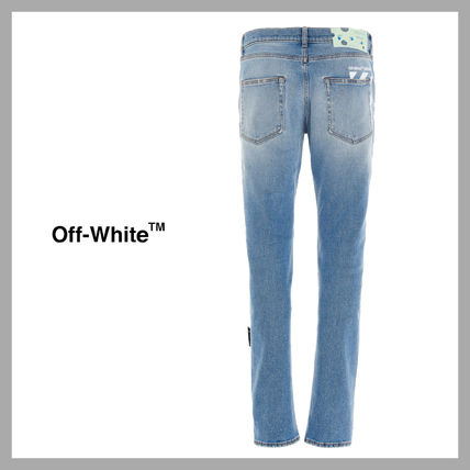 Off-White More Jeans Unisex Street Style Plain Cotton Logo Jeans
