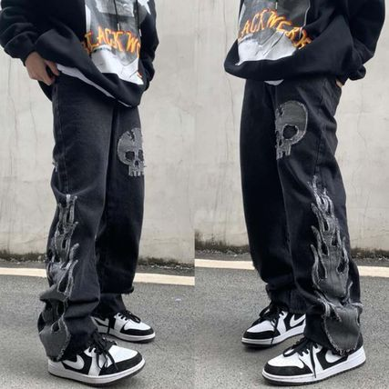 More Jeans Printed Pants Skull Denim Street Style Oversized Jeans