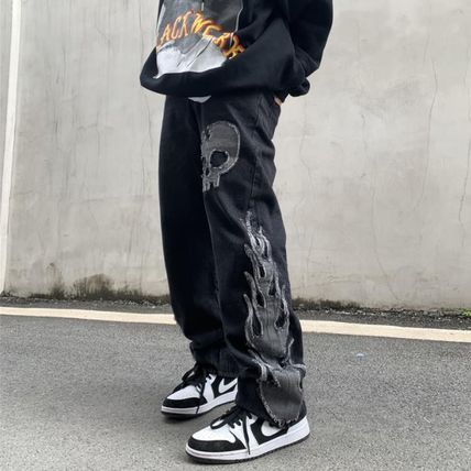 More Jeans Printed Pants Skull Denim Street Style Oversized Jeans 2