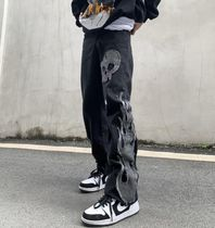 More Jeans Printed Pants Skull Denim Street Style Oversized Jeans 5