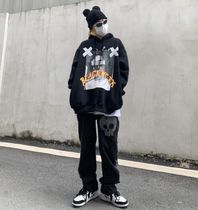 More Jeans Printed Pants Skull Denim Street Style Oversized Jeans 11