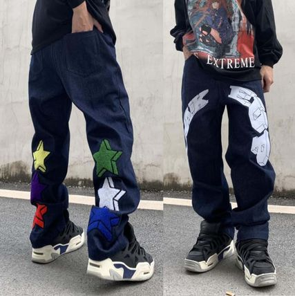 More Jeans Printed Pants Star Denim Street Style Oversized Logo Jeans