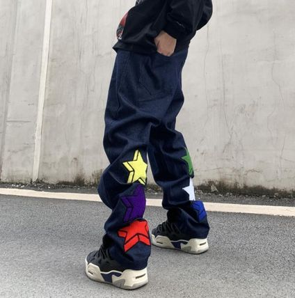 More Jeans Printed Pants Star Denim Street Style Oversized Logo Jeans 2