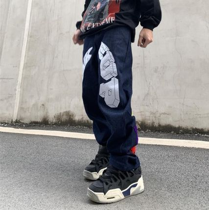 More Jeans Printed Pants Star Denim Street Style Oversized Logo Jeans 3