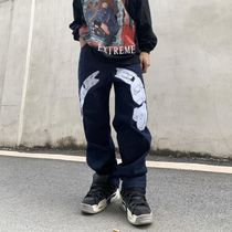 More Jeans Printed Pants Star Denim Street Style Oversized Logo Jeans 4