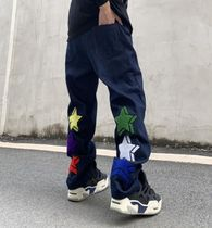 More Jeans Printed Pants Star Denim Street Style Oversized Logo Jeans 5