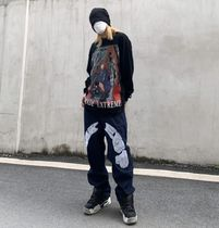 More Jeans Printed Pants Star Denim Street Style Oversized Logo Jeans 6