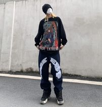 More Jeans Printed Pants Star Denim Street Style Oversized Logo Jeans 7