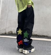 More Jeans Printed Pants Star Denim Street Style Oversized Logo Jeans 11