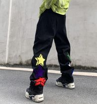 More Jeans Printed Pants Star Denim Street Style Oversized Logo Jeans 13