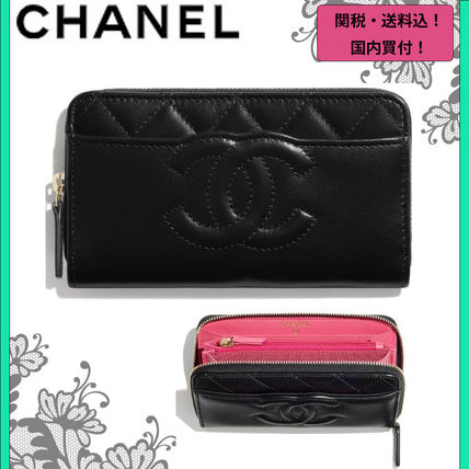 CHANEL Plain Logo Folding Wallets