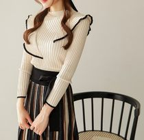 Flared Skirts Stripes Casual Style Long Office Style