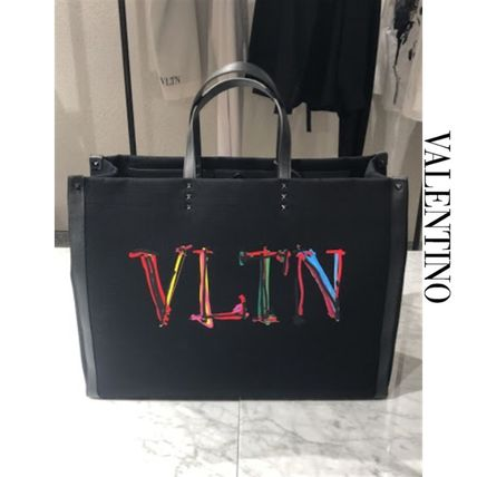 VALENTINO VLTN Formal Style  Logo Casual Style Plain Leather Street Style