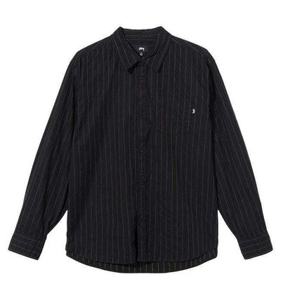 STUSSY Stripes Unisex Street Style Long Sleeves Cotton Logo