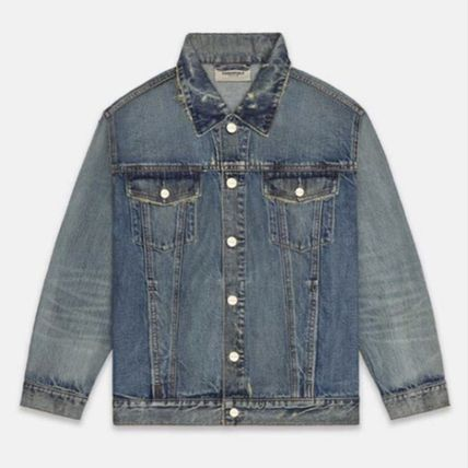 FEAR OF GOD ESSENTIALS Logo Denim Unisex Plain Street Style Denim Jackets Jackets